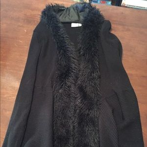 Black sweater with faux fur lining